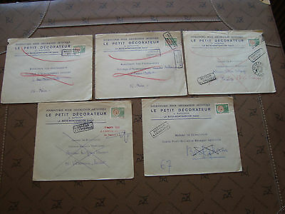 FRANCE - 5 enveloppes timres preobliteres (cy84) french