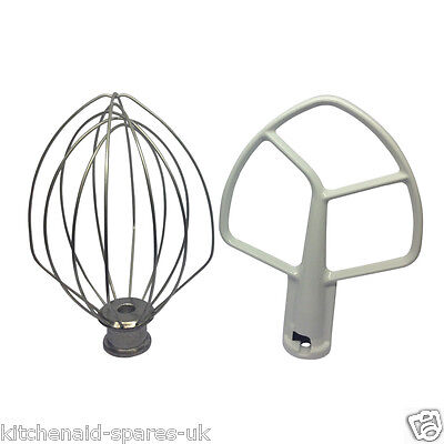 Replacement Kitchenaid Mixer 5QT Flat Beater K5AB & Wire Whisk K5AWW. Boxed New.