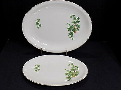 Two Vintage Paden City Pottery H-54 Oven Proof Ivy Design Serving Platters USA