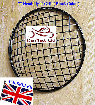 """Royal Enfield Balle Moto Motocycle 7"""" Phare Protection Grille(Noir)"""