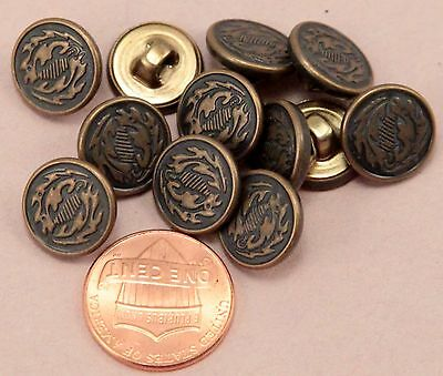 """144 pcs 1 Gross Small Antiqued Brass Tone Metal Buttons 1/2"""" Almost 13MM # 6312"""