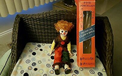 Vintage Fine Porcelain Musical Clown Doll With Moving Eyes (With box)
