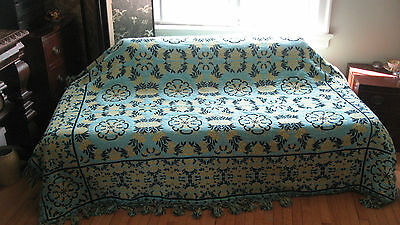 Vintage 50s 60s Turquoise Yellow Floral Jacquard Reversible Bedspread Blanket
