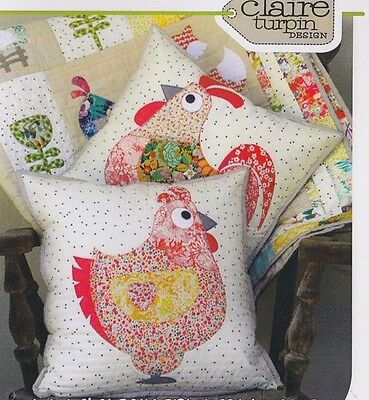 PATTERN - Chooks - applique & pieced cushions PATTERN - Claire Turpin