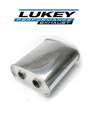 """LUKEY Sports Twin In Twin out Muffler 2"""" Straight Thru Polished Stainless"""
