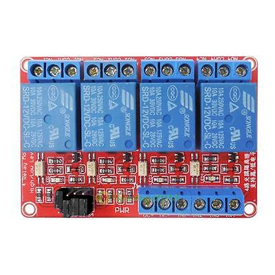 12V 4 Channel Relay Module with Optocoupler High and Low Level Trigger Board New