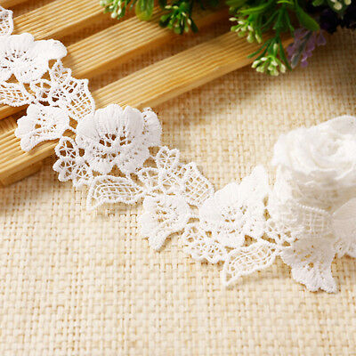 10m 4.5cm Floral Vintage Style Cotton Crochet Lace Edge Trim White Ribbon #6