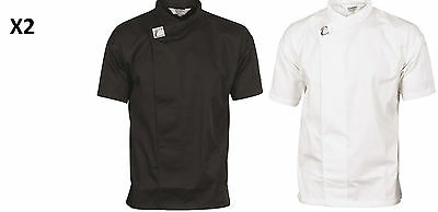 2 X Tunic Jacket/shirt Waiter Chef Cafe Restaurant Hospitality Dnc 1121