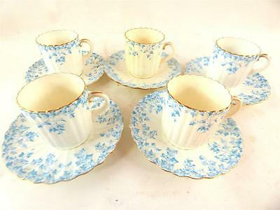 Set Of 5 Antique Shelley Wileman Fluted Cup & Saucers Ivy Pattern 4840
