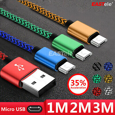 1M/2M/3M Strong Braided Micro USB Data Sync Charger Cable Cord Android Samsung