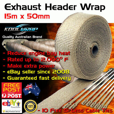 HEADER EXHAUST WRAP TAPE 2000 F Heat Protection Tan 15m x 50mm + 10 Steel Ties