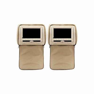 "2pcs 7"" Car Pillow DVD Stereo Headrest Radio Monitor Games IR FM Player Beige"