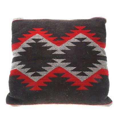 """Vintage Navajo Rug Pillow In Brown, Red, Taupe, 20"""" Square"""