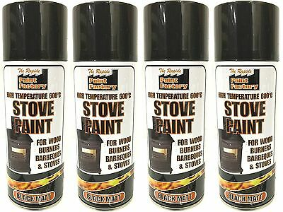 4x High Temperature Spray Heat Resistant Mat Black Paint up to 600 Degrees-400ml