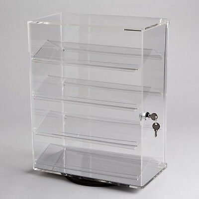 Revolving Vertical Acrylic Counter Top Locking Jewelry Display Case 4 Shelves