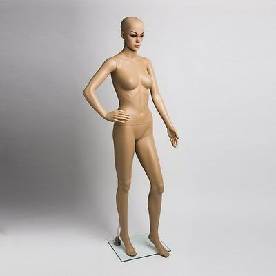 Plastic Female Mannequins Full Body Women's Mannequin Form Display Glass Base