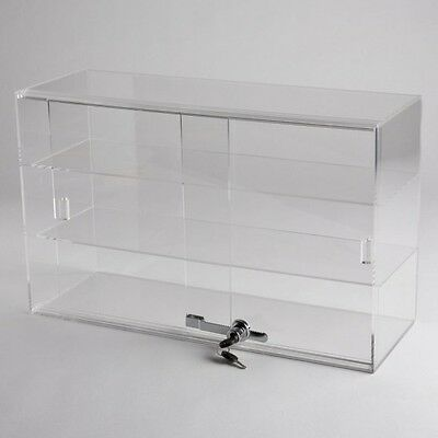 NEW  Horizontal Acrylic Counter Top Locking Jewelry Display Case with 2 Shelves