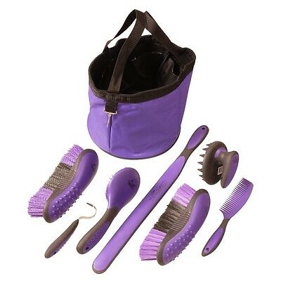Horse Grooming Tote and Accessories - 8 Piece Great Grip Grooming Packge