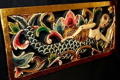 """Bali Mermaid Relief Wall Decor Panel carved wood Balinese architectural Art 24"""""""