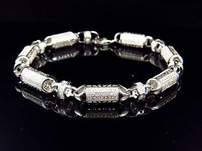 Mens White Gold Sterling Silver 3D Lab Diamond Bullet Chain Bracelet 7mm 8""