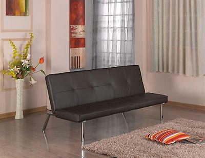 Sofa Guest Bed Black or Brown Chrome Legs Metal Frame PU Leather Buttoned 3 Seat