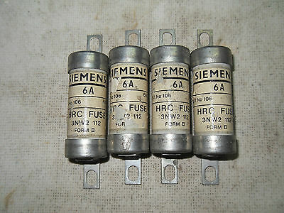 (H4)  Lot Of 4 New Siemens 3Nw2 112 6A 600V Fuses