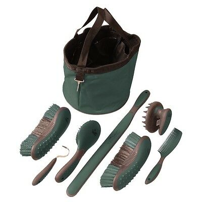 Horse Grooming Tote and Accessories - 8 Piece Great Grip Grooming Pkg - Green