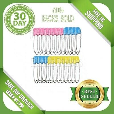24 Large Traditional Nappy Safety Pins Terry Nappies Baby Change Fasteners 02A