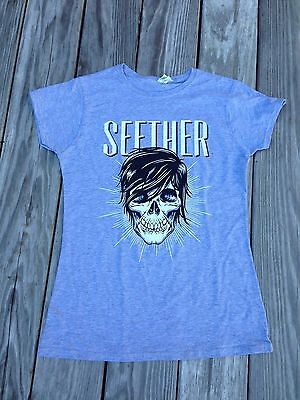 Women's Seether 2012 Concert T Shirt Grey Skull Size Large