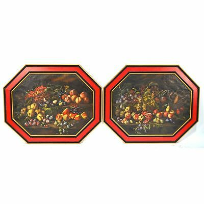 Exceptional Pair Antique Continental Octagonal Still Life Paintings of Fruits