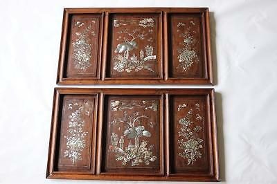 Pair of Chinese Mother-of-Pearl Inlaid Hardwood Panels