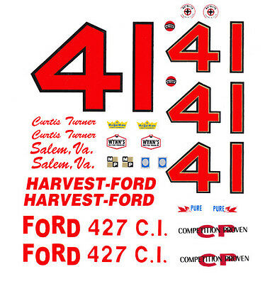 #41 Curtis Turner 1967 Fairlane 1/64th HO Scale Slot Car WATERSLIDE DECALS