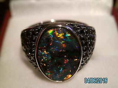 AUSTRALIAN BOULDER OPAL UNISEX RING, SIZE O, 18ct GOLD and BLACK DIAMONDS