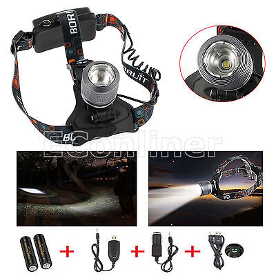 Waterproof Zoomable CREE XM-L T6 LED HeadLight Camping Fishing Head Lamp Torch
