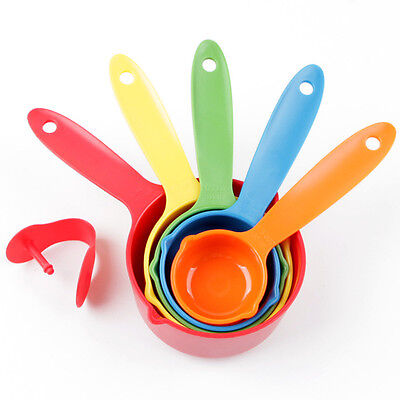 New Measuring Cup Spoons Cooking Baking Metric Measurements Plastic Kitchen 5pcs