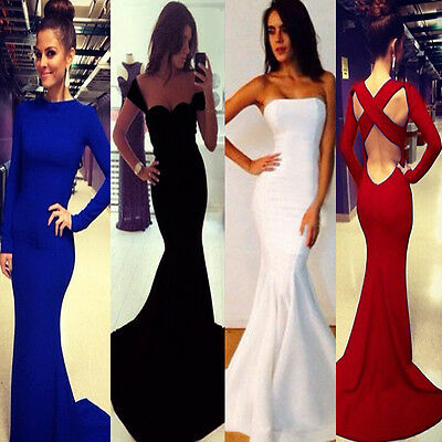 Women Long Sleeve Prom Ball Cocktail Party Dress Formal Evening Gown Mermaid New