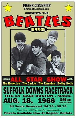 The Beatles 1966 Boston Box office CONCERT POSTER Suffolk Downs