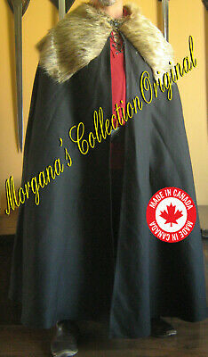Medieval Celtic Viking Barbarian Cape Cloak with Fur