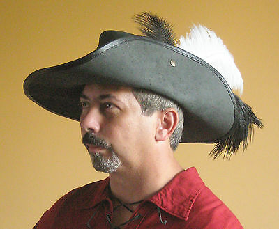 Medieval Celtic Renaissance SCA Larp Leather Musketeer Hat
