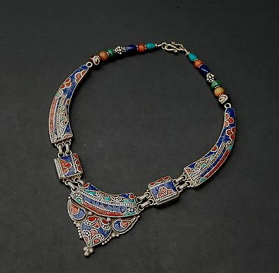 Vintage Berber Silver Necklace with turquoise coral lapis inlay Morocco Africa