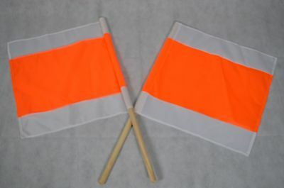 2 X WARNFAHNE FLAGGE WARNFLAGGE WINTERFAHNE FAHNE ORANGE/WEISS 50 x50 CM STIEL