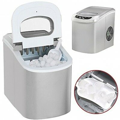 Popamazing Silver Electrical Ice Cube Machine Maker Cold Drinks Cocktails Home