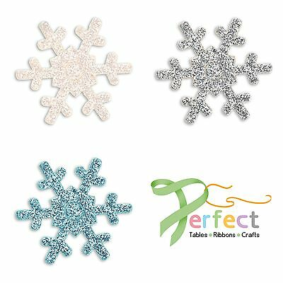 Pack 12 Frozen Glitter Snowflakes Self Adhesive Wedding Craft Decoration