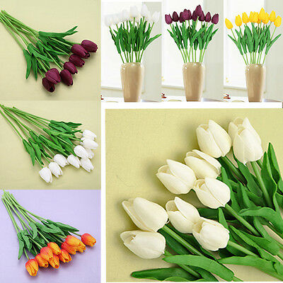10 Head Latex Real Touch Tulip Flowers Home and Wedding Party Bouquet Decor f#