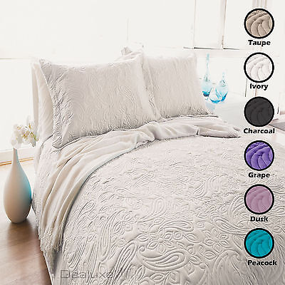 Embossed Paisley Coverlet Bedspread Set - Queen / King - 7 Colours