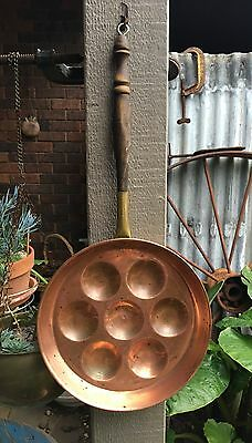 Vintage Copper Egg Pan With Wooden Turned Handle. Hanging Copper Kitchen Pan