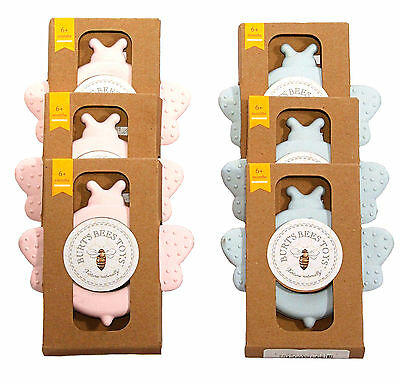 Burt's Bees Beether Cornstarch Rubber Teething Ring Teether Pink or Blue 3 Pack