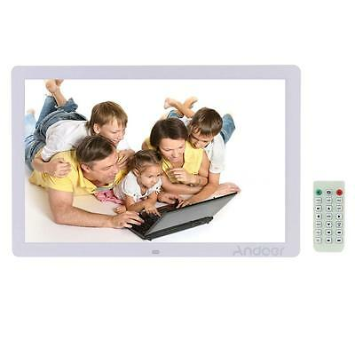 "17""Ultrathin HD 1080P Digital Photo Picture Frame Alarm Movie Player Remote A5J6"