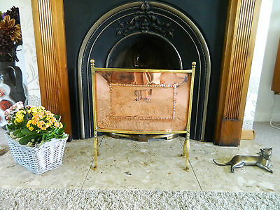 Great Ornamental Antique Copper Arts and Crafts Fire Screen Brass Edging / Legs