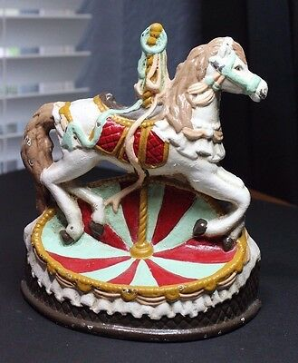 CAST IRON METAL HEAVY VINTAGE CAROUSEL HORSE DOORSTOP by IMPERIAL